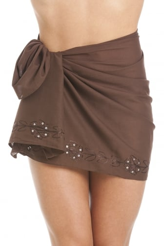 Brown Short Length Sarong With Floral Embroidery