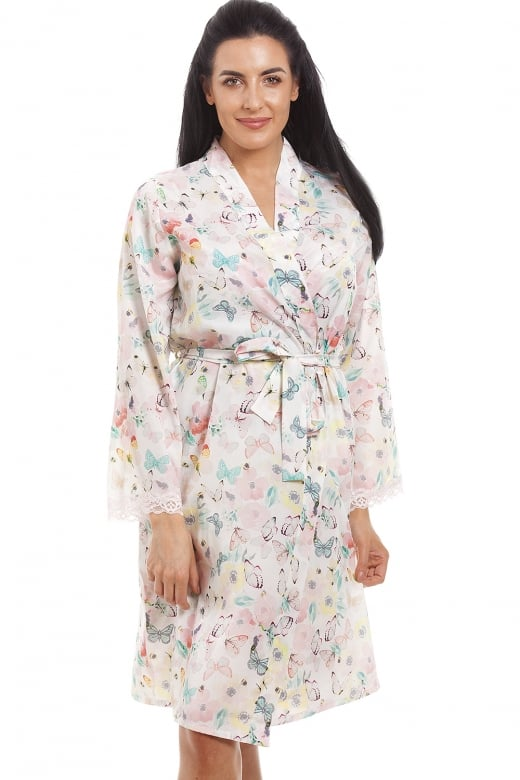 Camille Butterfly And Bumble Bee Floral Print Knee Length Chiffon Dressing Gown