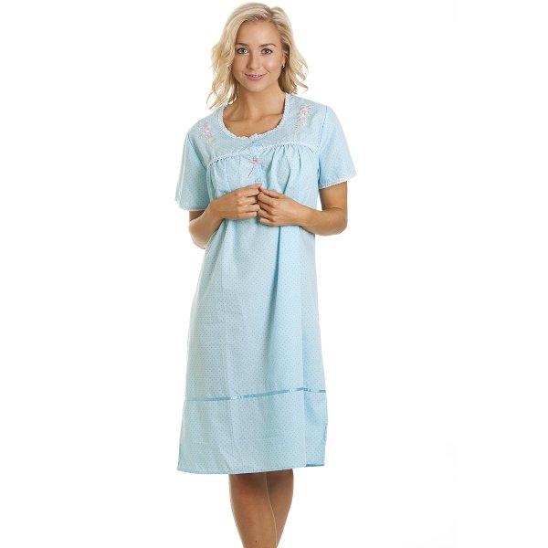 db9692780f Camille Womens Ladies Blue Short Sleeved Knee Length Night Dress 10-20