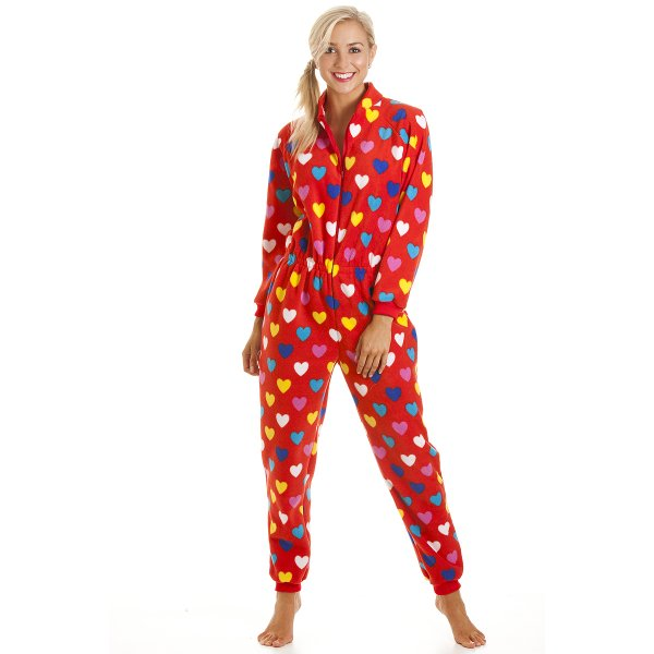ab0da28128 Camille Womens Ladies Luxury All In One Red Heart Print Fleece Onesie Pyjama  Sizes 10-16