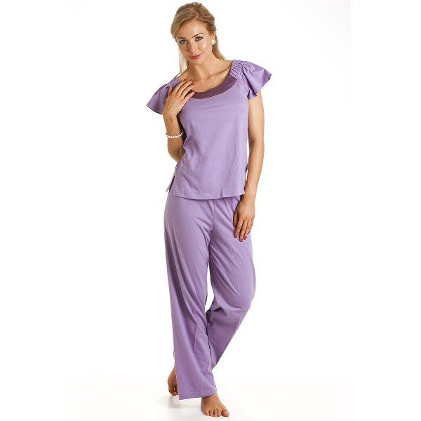 f40314fd8 Camille Womens Ladies Luxury Full Length Modal Cotton Lilac Pyjamas Size  10-22