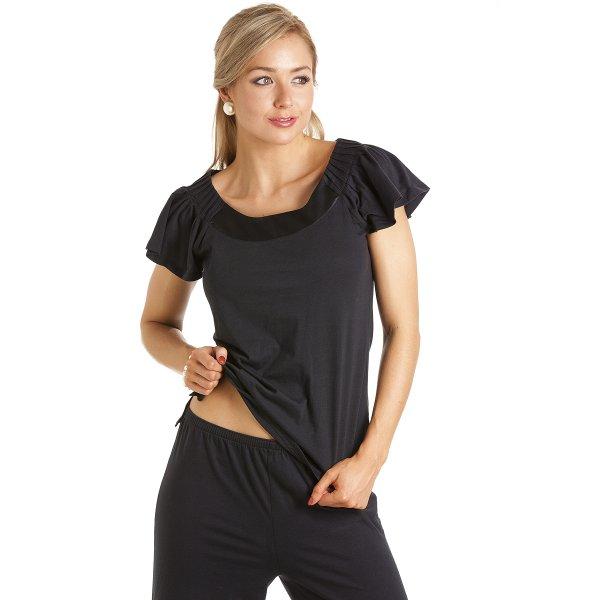 b6c1913a9 Camille Womens Ladies Luxury Long Length Modal Cotton Black Pyjamas Set  Size 10-22
