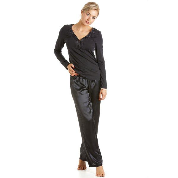 111abe441 Camille Womens Ladies Luxury Long Length Satin And Cotton Modal Black  Pyjamas Size 10-22