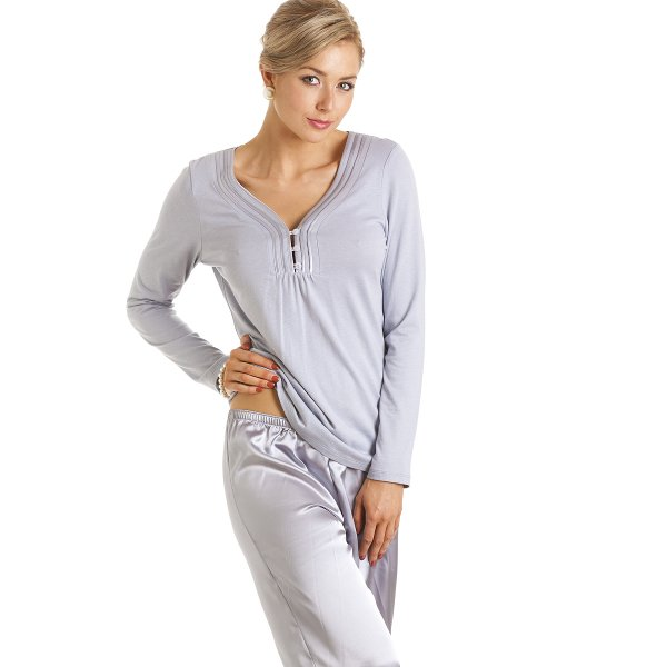 Camille Womens Ladies Luxury Long Length Satin And Cotton Modal Grey Pyjamas  Size 10-22 a877e9232