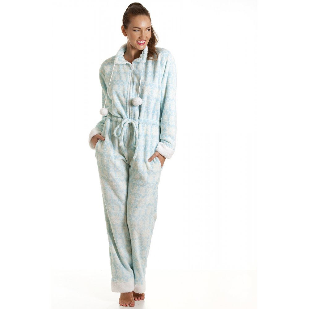 Camille Womens Luxury All In One Baby Blue Nordic Print ...