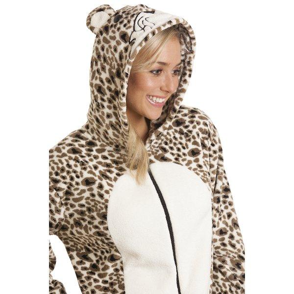 2c36ec37f8 Camille Womens Luxury All In One Gold leopard Cat Print Hooded Onesie  Fleece Pyjama 8-
