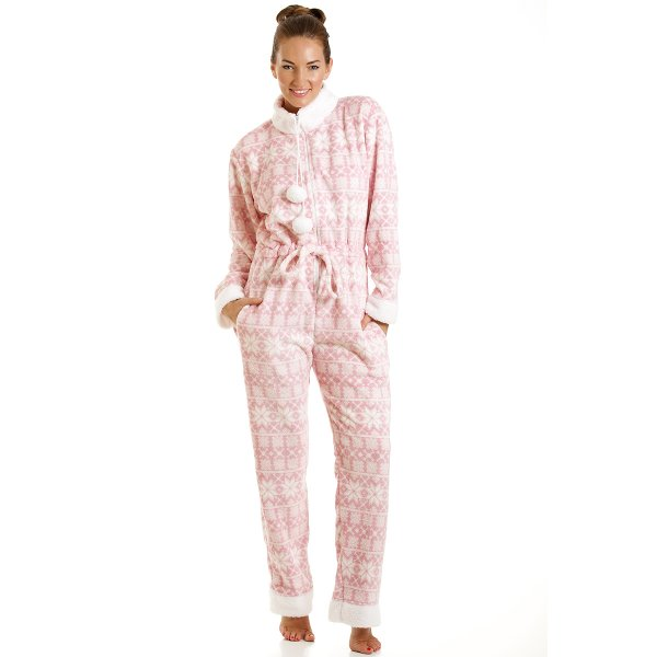 Camille Womens Luxury All In One Light Pink Nordic Print Onesie Fleece  Pyjama 10-20 329b0084a