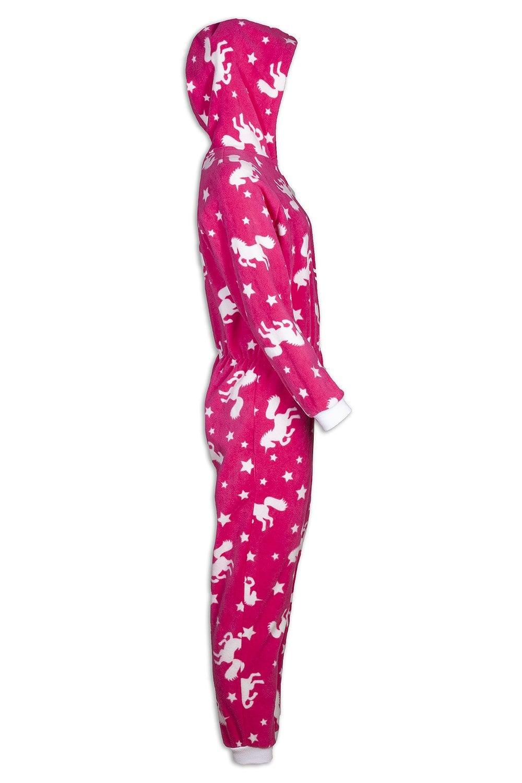 bd70a8d8092a Childrens Pink Unicorn Print Fleece All In One Pyjama Onesie