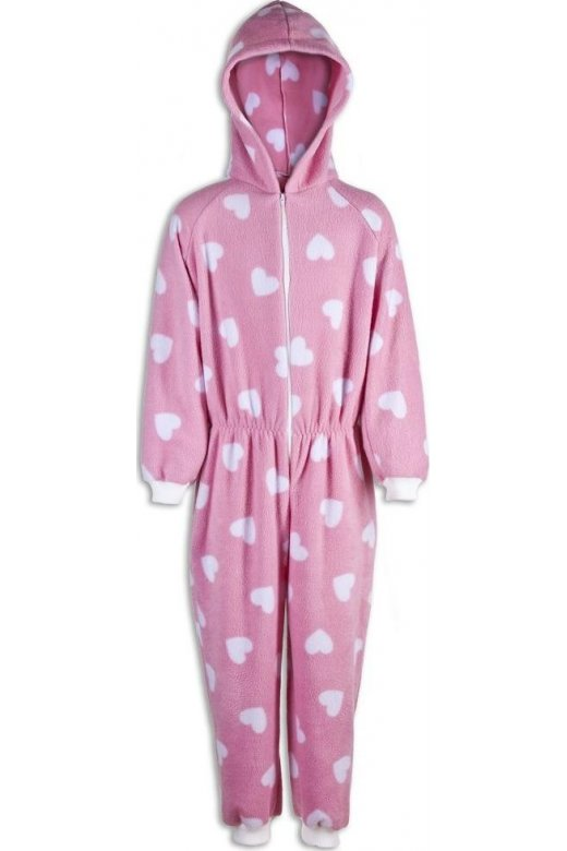 Camille Childrens Pink With White Heart Print All In One Pyjama Onesie