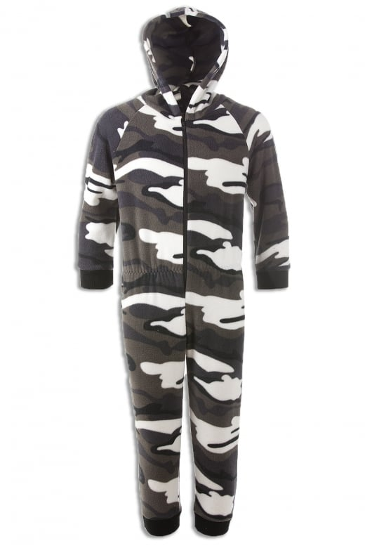 Camille Childrens Snow Camouflage Supersoft Fleece Zip Front Hooded Onesie