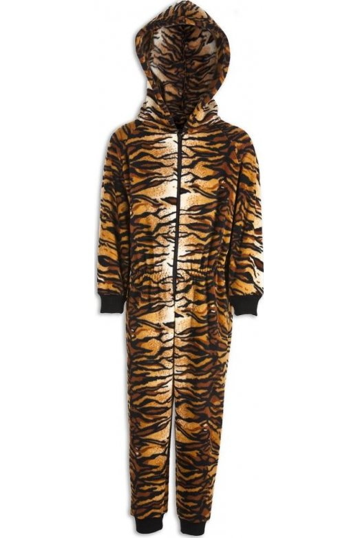 Camille Childrens Unisex All In One Tiger Print Hooded Onesie