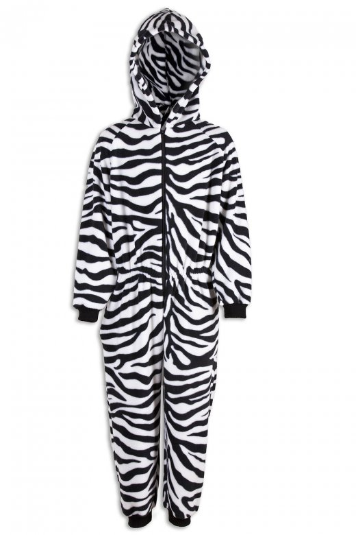Camille Childrens Unisex All In One Zebra Print Hooded Onesie