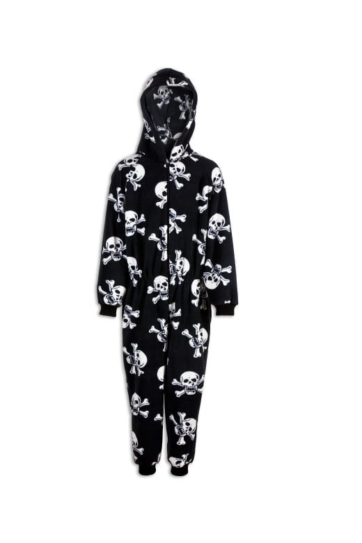 Camille Childrens Unisex Black And White Skull Print All In One Pyjama Onesie