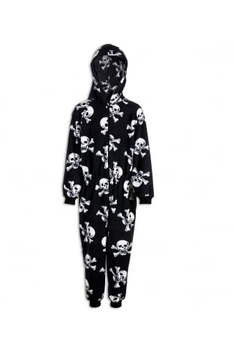 Childrens Unisex Black And White Skull Print All In One Pyjama Onesie