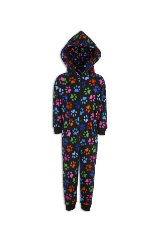 Camille Childrens Unisex Black With Multi Colour Paw Prints All In One Pyjama Onesie
