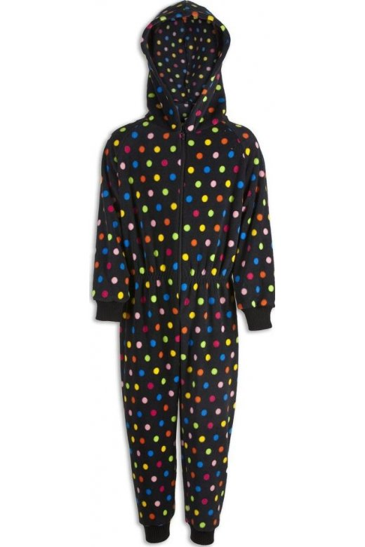 Camille Childrens Unisex Black with Multi Colour Polka Dots All In One Pyjama Onesie