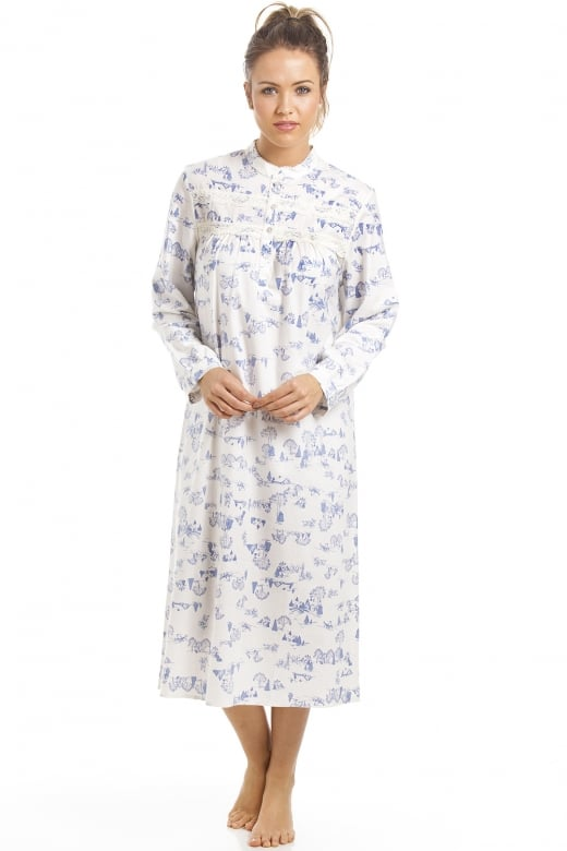 Camille Classic Blue Country Cottage Print Brushed Polycotton Nightdress