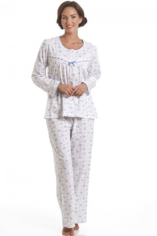 Camille Classic Blue Floral Full Length Cotton Pyjama Set