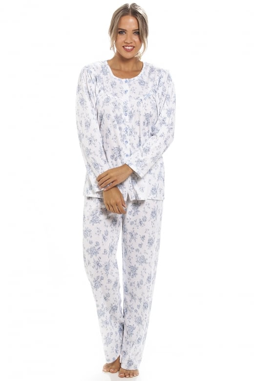 Camille Classic Blue Floral Print Full Length White Pyjama Set