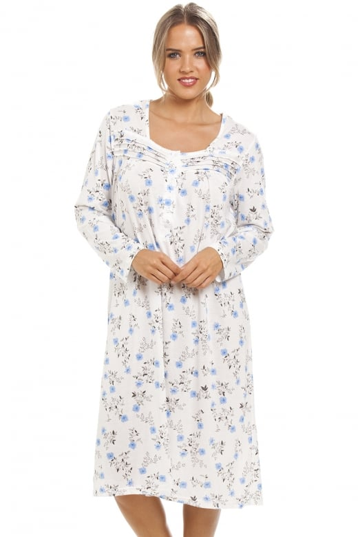 Camille Classic Blue Floral Print Long Sleeve White Nightdress