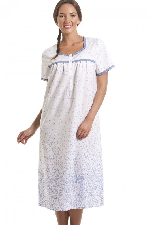 Camille Classic Blue Floral Print Short Sleeve White Nightdress