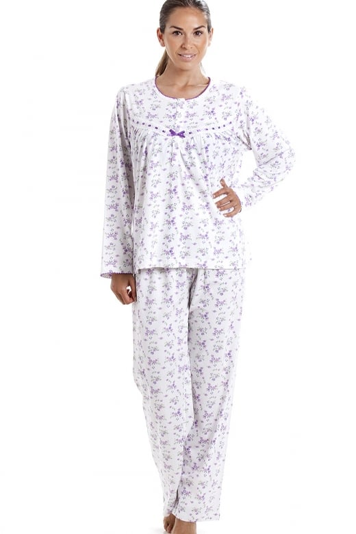 Camille Classic Cotton Jersey Lilac Floral Print Pyjama Set