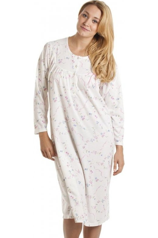 Camille Classic Cream And Pink Floral Print Long Sleeve Nightdress