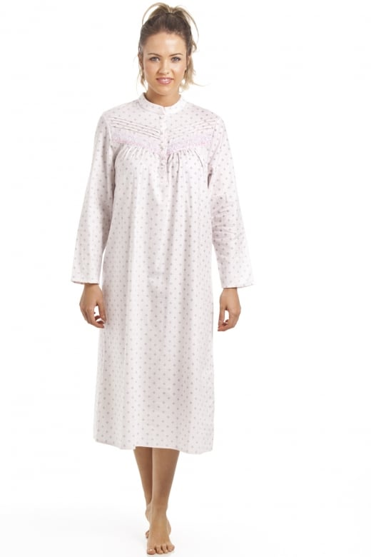 Camille Classic Light Pink Long Sleeve Blue Floral Wincy Nightdress