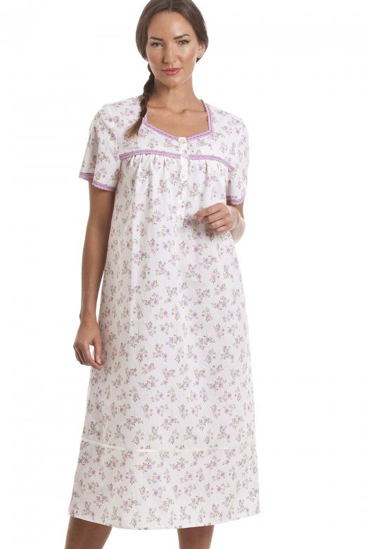 Camille Classic Lilac Floral Print Short Sleeve White Nightdress