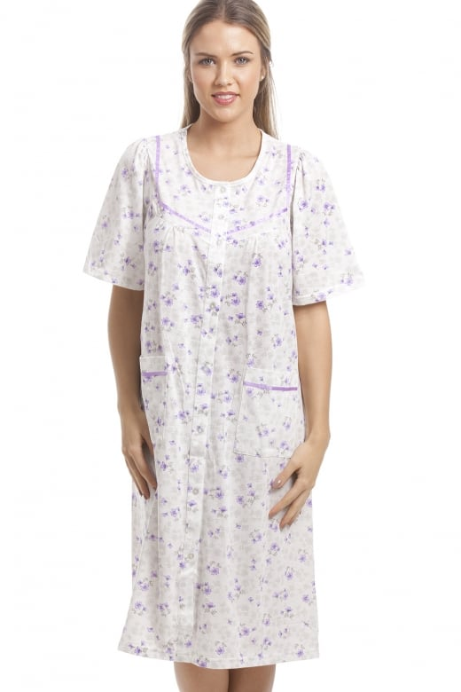 Camille Classic Lilac Floral Print White Short Sleeve Button Up Nightdress