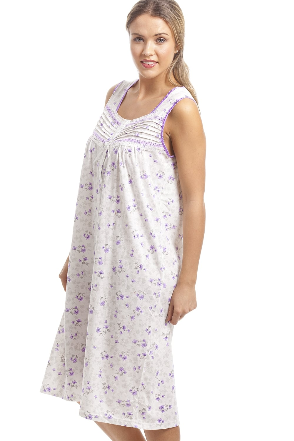 Camille Classic Lilac Floral Print White Sleeveless Nightdress a53c334e7