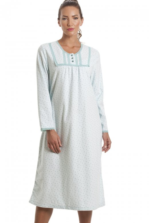Camille Classic Long Sleeve Aqua Blue Polka Dot Fleece Nightdress