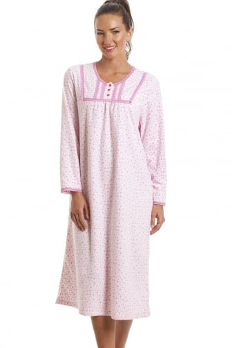 Classic Long Sleeve Light Pink Polka Dot Soft Fleece Nightdress