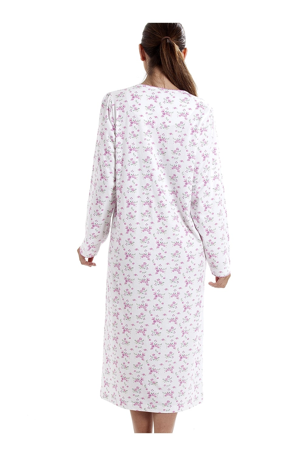 6a6705fea5 Camille Classic Long Sleeve Pink Floral Print 100% Cotton White Nightdress