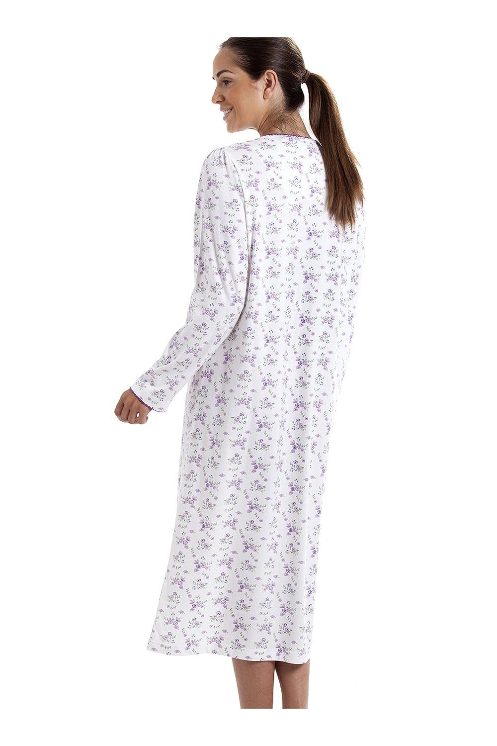 7430c584fd Camille Classic Long Sleeve Purple Floral Print 100% Cotton White Nightdress