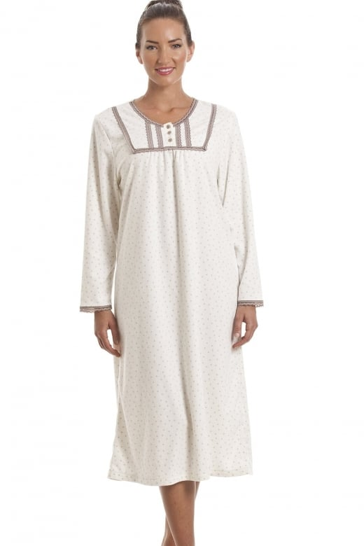 Camille Classic Long Sleeve Taupe Polka Dot Soft Fleece Ivory Nightdress