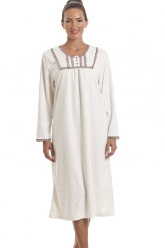 Classic Long Sleeve Taupe Polka Dot Soft Fleece Ivory Nightdress