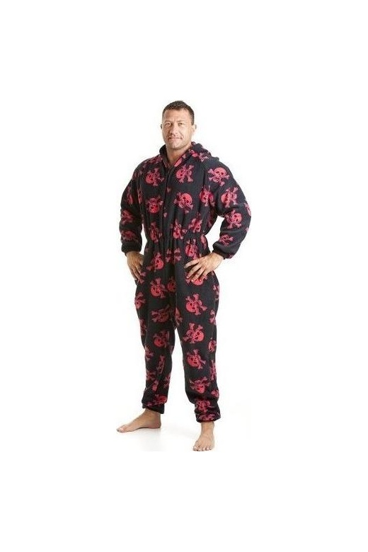 Camille Classic Mens All In One Black And Red Skull Print Fleece Pocketed Pyjama Onesie Size S-5XL
