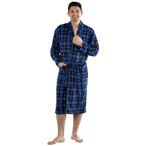 Classic Mens Blue Checked Bathrobe Dressing Gown Size M-XXL