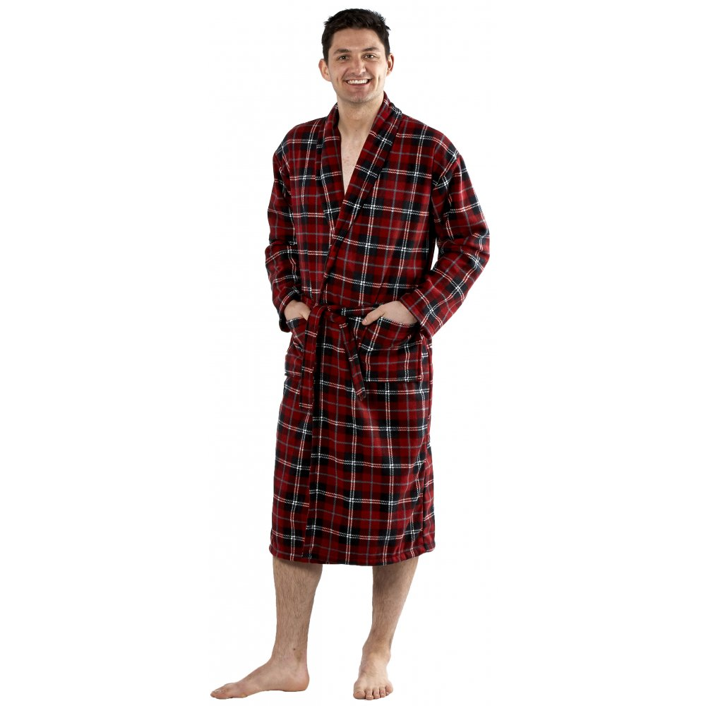 Men S Dressing Gowns Uk: Classic Mens Red Checked Bathrobe Dressing Gown Size M-XXL