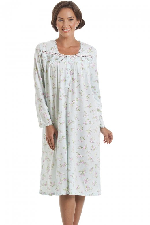 Camille Classic Mint Green And Pink Floral Long Sleeve Nightdress