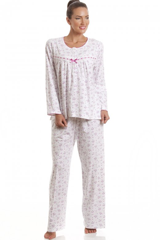Camille Classic Pink Floral Full Length Cotton Pyjama Set