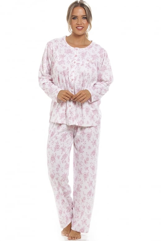 Camille Classic Pink Floral Print Full Length White Pyjama Set
