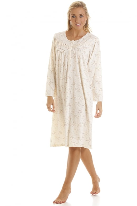 Camille Classic Pink Floral Print Long Sleeve Ivory Nightdress