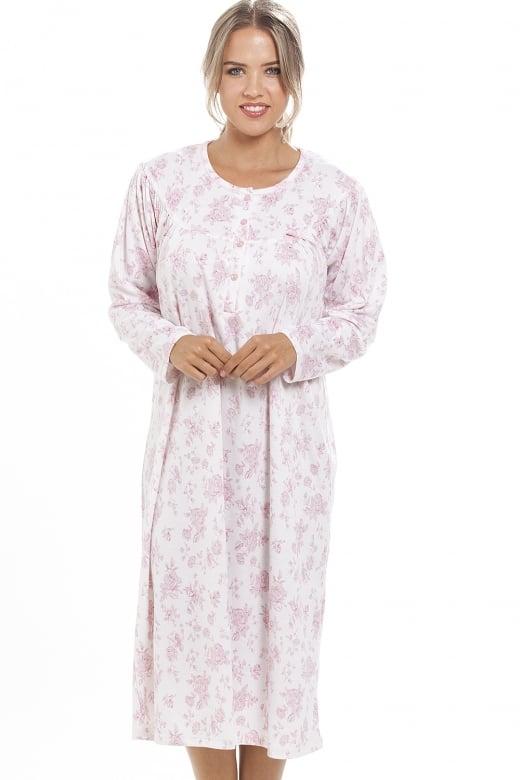 Camille Classic Pink Floral Print Long Sleeve White Nightdress