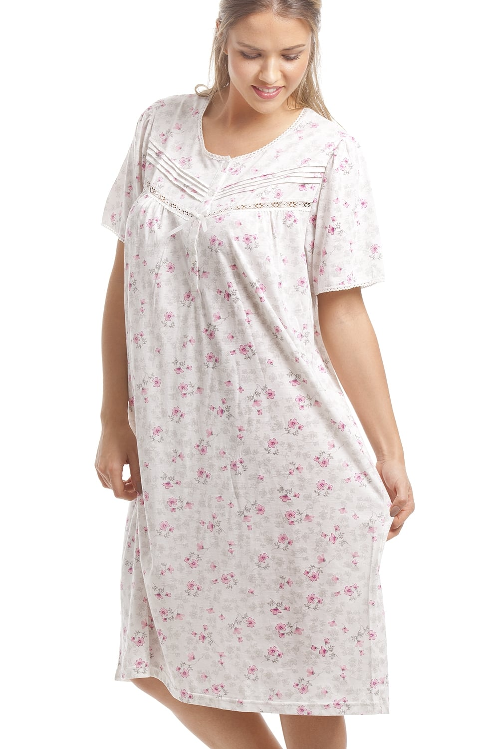 d8286918cb Camille Classic Pink Floral Print White Short Sleeve Nightdress