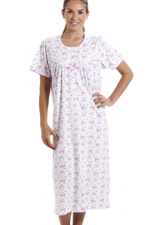 Camille Classic Short Sleeve Pink Floral Print 100% Cotton White Nightdress