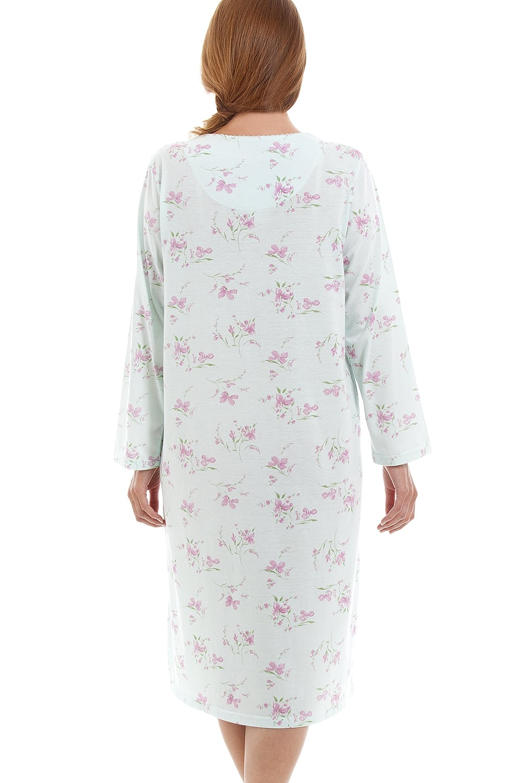 6a3ff9fee917 Camille Classic Style Long Sleeve Floral Print Aqua Blue Nightdress
