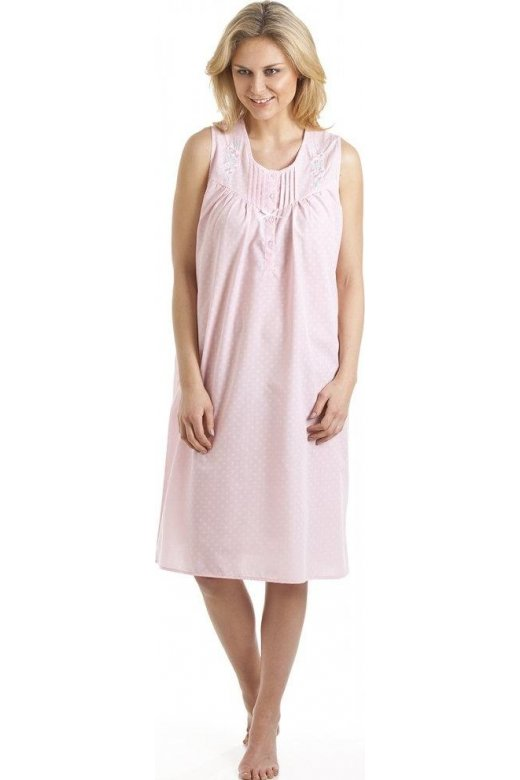 Camille Classic Style Sleeveless Embroidered Pink Nightdress
