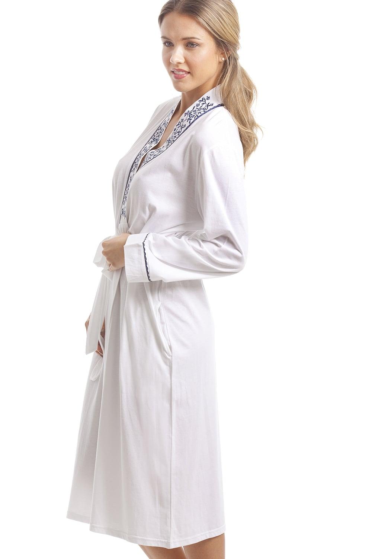 Camille Classic White Bathrobe With Navy Floral Design ce154a5e7